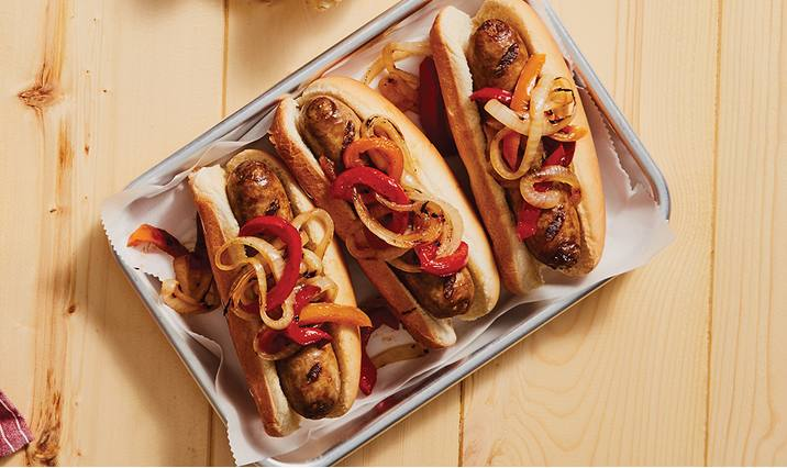 Grilled Brats with Peppers & Onions