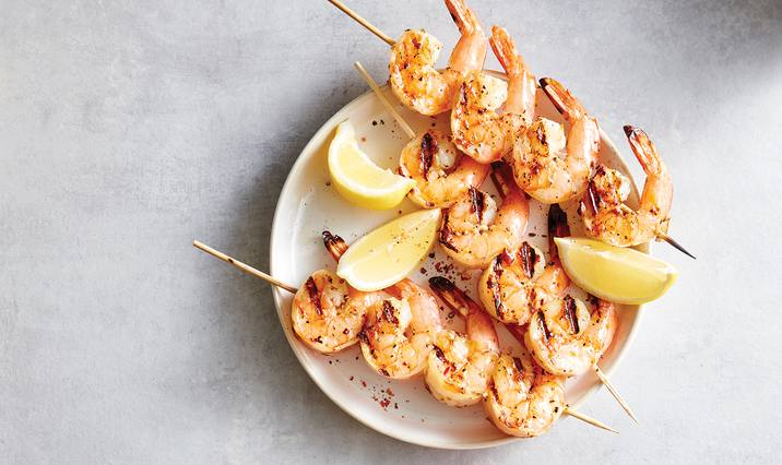 Spicy Garlic & Lemon Shrimp Skewers