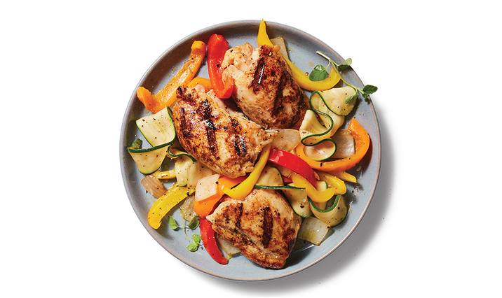 Grilled Chicken Thighs with Zucchini Ribbons & Peppers
